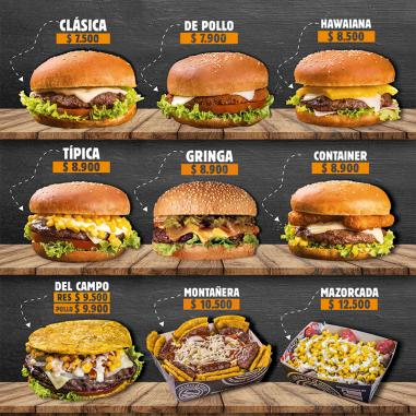 Cartas para hamburgueserías