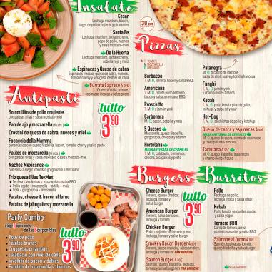 Cartas para pizzeria